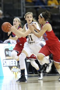 Franklin County's Rebecca Cooks heads down the court  against Mercer County. (Photo by Jim Osborn)