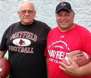 Between them, Jack and Joe Morris have coached Mayfield to 18 state football titles. (Photo by Mike Fields)