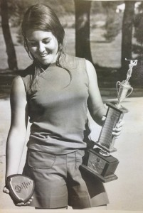 Myra with the spoils of victory after  her individual title and Lafayette's team title in 1973
