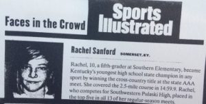 "Rachel Sanford made Sports Illustrated's ""Faces in the Crowd"" after she won a state cross country title as a fifth-grader."