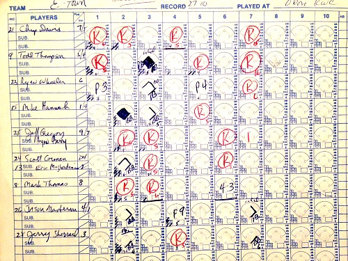 Here's the scorebook from Lafayette's 14-2 win over Elizabethtown in the 1992 state finals. Curtis Whitney had 17 K's.