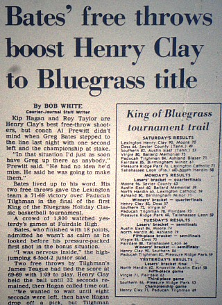 Henry Clay won the very first King of the Bluegrass title. Greg Bates hit two free throws with :01 left to give the Blue Devils a 71-69 victory over Paducah Tilghman in the finals.